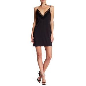 WALTER BAKER Brenna lace trim black slip dress